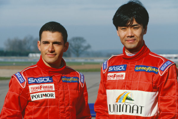 Taki Inoue and Gianni Morbidelli, portrait.  World Copyright: LAT Photographic. Ref:  Colour Transparency