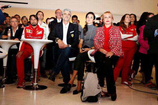 Autodromo Hermanos Rodriguez, Mexico City, Mexico. Saturday 31 October 2015. Mauricio Arrivabene, Team Principal, Ferrari, watches on as Esteban Gutierrez is announced as a Haas F1 driver for the 2016 season. World Copyright: Steven Tee/LAT Photographic. ref: Digital Image _X0W8449