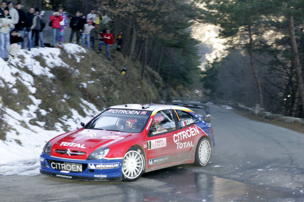2005 FIA World Rally Champs. Round one, Rally Monte Carlo 20th-23rd January 2005 Sebastien Loeb, Citreon, action World Copyright: McKlein/LAT