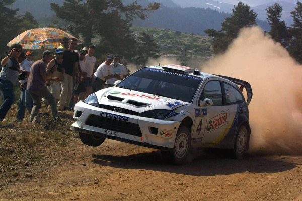 Markko Martin in action in the Ford Focus RS WRC03, Acropolis Rally 2003.