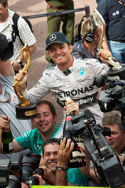 Monte Carlo, Monaco. Sunday 25 May 2014. Nico Rosberg, Mercedes AMG, 1st Position, and the Mercedes team celebrate victory. World Copyright: Steve Etherington/LAT Photographic. ref: Digital Image SNE12345 copy