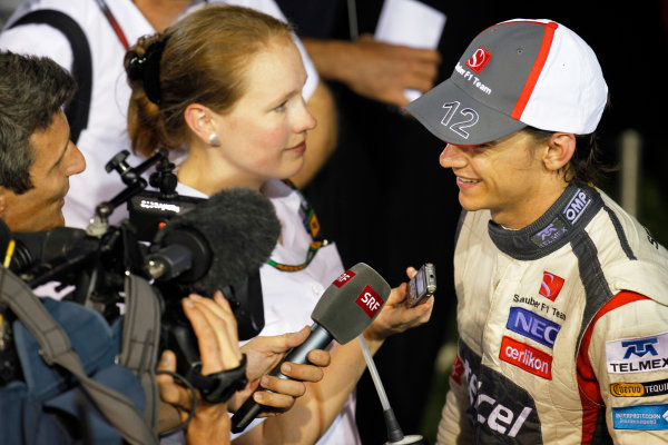 Marina Bay Circuit, Singapore. Saturday 21st September 2013.  Esteban Gutierrez, Sauber F1, talks to the media.  World Copyright: Jed Leicester/LAT Photographic. ref: Digital Image _JEL2764