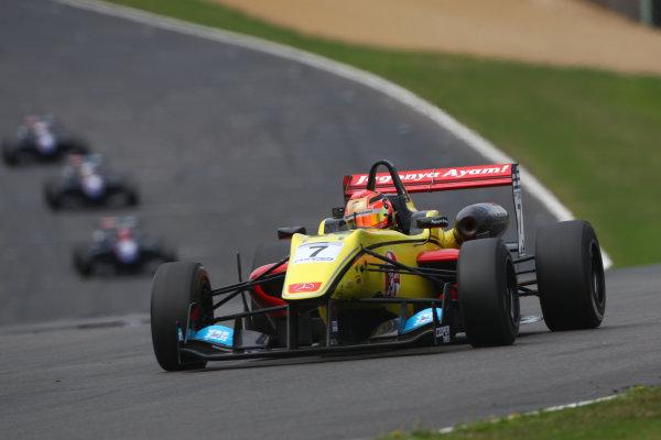2013 British Formula 3 International Series, Brands Hatch, Kent. 9th - 11th August 2013. Sean Gelael (RI) Double R Racing Dallara Mercedes. World Copyright: Ebrey / LAT Photographic.