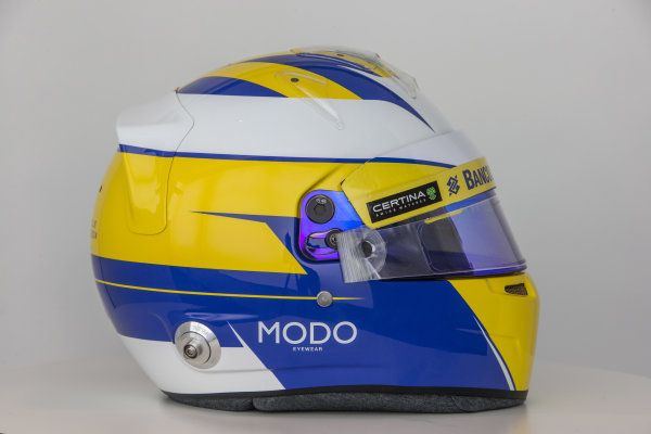 Sauber C34 Reveal. Hinwil, Switzerland. Thursday 29 January 2015. Helmet of Marcus Ericsson. Photo: Sauber F1 Team (Copyright Free FOR EDITORIAL USE ONLY) ref: Digital Image Sauber_2015_Helmet_27