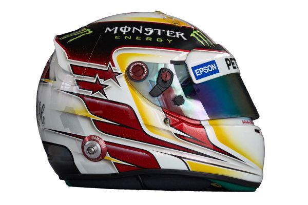Circuit de Catalunya, Barcelona, Spain. Wednesday 25 February 2015. Helmet of Lewis Hamilton, Mercedes AMG.  World Copyright: Mercedes AMG F1 (Copyright Free FOR EDITORIAL USE ONLY) ref: Digital Image 2015_MERCEDES_HELMET_03