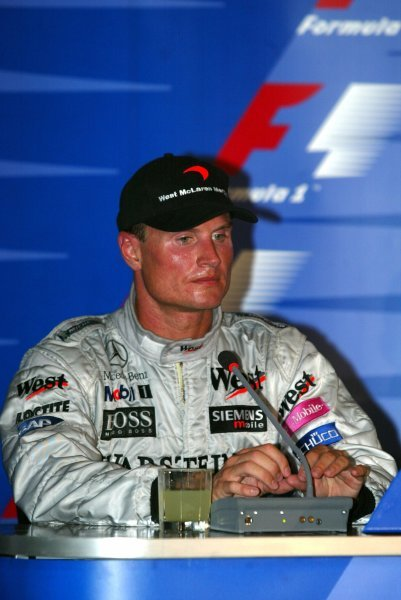 Second placed David Coulthard (GBR) McLaren in the press conference.Formula One World Championship, Rd12, German Grand Prix, Race Day, Hockenheim, Germany, 3 August 2003.DIGITAL IMAGE