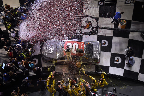 #20: Erik Jones, Joe Gibbs Racing, Toyota Camry buyatoyota.com, celebrates in victory lane.