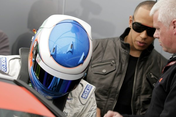 L-R: Nicolas Hamilton (GBR), Total Control Racing, making his Renault Clio Cup racing debut this weekend, with brother Lewis Hamilton (GBR), McLaren.