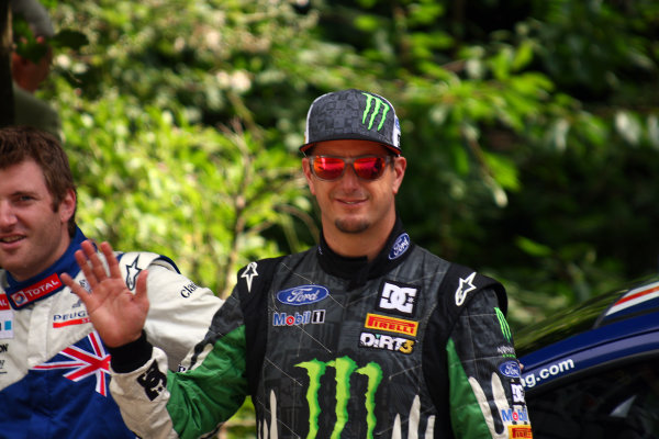 Goodwood Estate, West Sussex. 30th June - 3rd July 2011 WRC star Ken Block gives us a wave. Portrait. World Copyright: Lord Hutton/LAT Photographic ref: IMG_2650