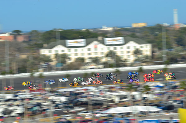 19-20 February, 2016, Daytona Beach, Florida USA Ty Dillon, Kasey Kahne and Austin Dillon race into turn 4.  ?2016, Logan Whitton  LAT Photo USA
