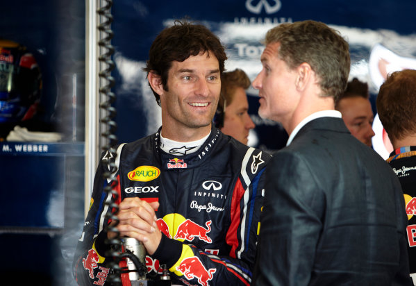 Silverstone, Northamptonshire, England 8th July 2011 Mark Webber, Red Bull Racing RB7 Renault, with Daavid Coulthard, BBC F1 TV commentator. Portrait.  World Copyright: Steve Etherington/LAT Photographic ref: Digital Image F72E9661