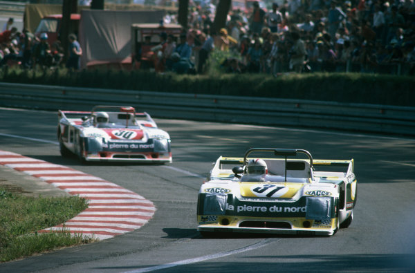 Le Mans, France. 10th - 11th June 1978 Michel Pignard/Laurent Ferrier/Lucien Rossiaud (Chevron B35), 11th position, leads Jacques Henry/Albert Dufrene/Max Cohen Olivar(Chevron B36), retired, action World Copyright: LAT PhotographicRef: 78LM22.