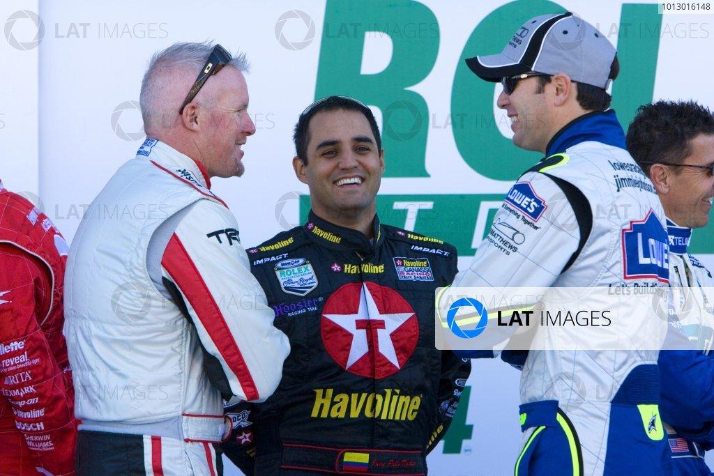 25- 27 January, 2007, Daytona Beach, FL USAPaul Tracy, Juan Pablo Montoya and Jimmie Johnson share a laugh.Copyright 2007, Richard Dole, USA LAT Photographic