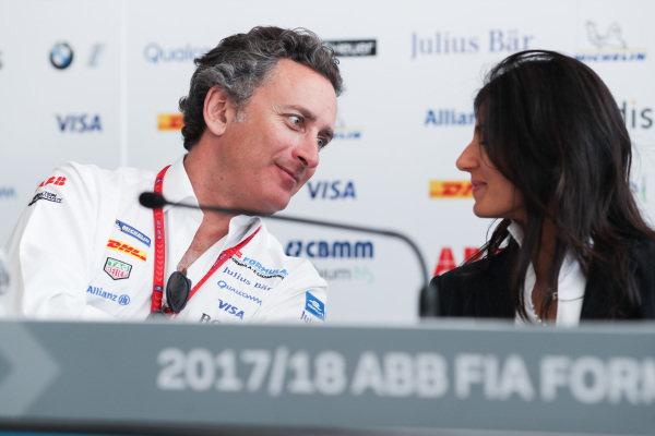 Alejandro Agag, CEO, Formula E, talks to Virginia Elena Raggi, Mayor of Rome.