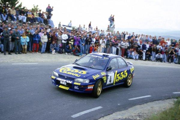 1995 World Rally Championship.Catalunya Rally, Spain. 23-25 October 1995.Colin McRae/Derek Ringer (Subaru Impreza 555), 2nd position.World Copyright: LAT PhotographicRef: 35mm transparency 95RALLY23