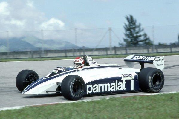 1982 Brazilian Grand Prix.Rio de Janeiro, Brazil. 19-21 March 1982.Nelson Piquet (Brabham BT49D-Ford Cosworth), disqualified.World Copyright: LAT PhotographicRef: 35mm transparency 82BRA29