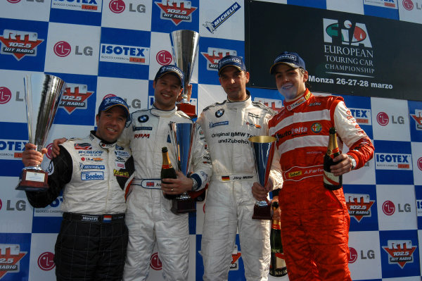 2004 European Touring Car ChampionshipMonza, Italy. 27th - 28th March 2004.Race 2 podium - Jorg Muller (BMW 32oi) 1st, Andy Priaulx, 2nd, and Augusto Farfus (Alfa Romeo 156 S2000), 3rd.World Copyright: Photo4/LAT Photographiref: Digital Image Only