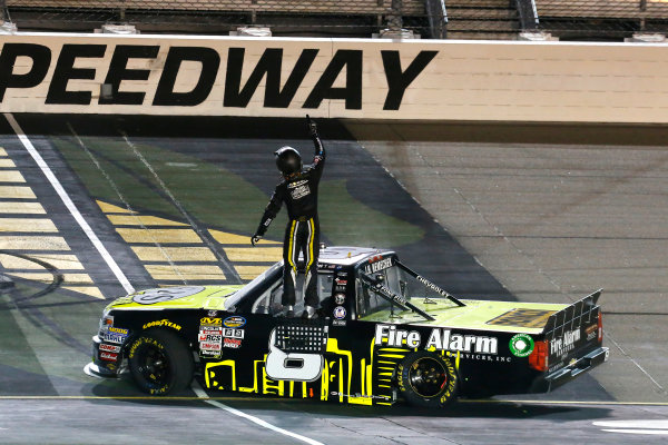 NASCAR Camping World Truck Series M&M?s 200 presented by Casey?s General Store Iowa Speedway, Newton, IA USA Friday 23 June 2017 John Hunter Nemechek, Fire Alarm Services/Romco Equipment Co. Chevrolet Silverado celebrates his win World Copyright: Russell LaBounty LAT Images