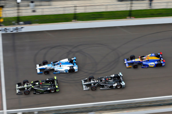 Verizon IndyCar Series Indianapolis 500 Race Indianapolis Motor Speedway, Indianapolis, IN USA Sunday 28 May 2017 Juan Pablo Montoya, Team Penske Chevrolet, Marco Andretti, Andretti Autosport with Yarrow Honda, Josef Newgarden, Team Penske Chevrolet and Alexander Rossi, Andretti Herta Autosport with Curb-Agajanian Honda World Copyright: Russell LaBounty LAT Images