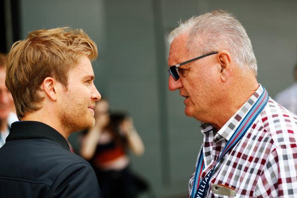 Williams 40 Event Silverstone, Northants, UK Friday 2 June 2017. Nico Rosberg talks to Alan Webber, father of Mark. World Copyright: Sam Bloxham/LAT Images ref: Digital Image _J6I6763