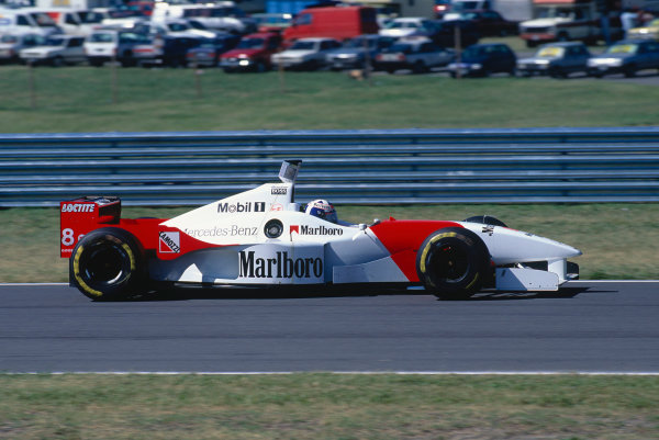 1996 Argentinian Grand Prix. Buenos Aires, Argentina.  5-7 April 1996. David Coulthard (McLaren MP4/11 Mercedes) 7th position. Ref-96 ARG 26. World Copyright - Martyn Elford/LAT Photographic