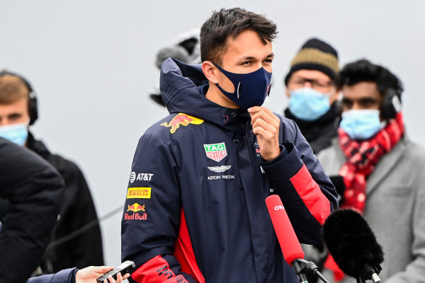 Alexander Albon, Red Bull Racing talks to the press