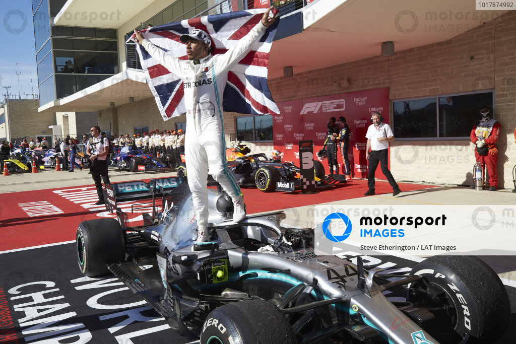 Lewis Hamilton, Mercedes AMG F1, celebrates winning the world championship in parc ferme