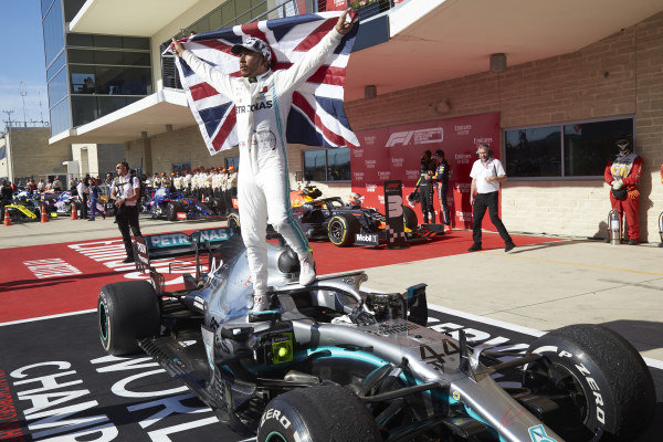 Lewis Hamilton, Mercedes AMG F1, celebrates winning the world championship in parc ferme