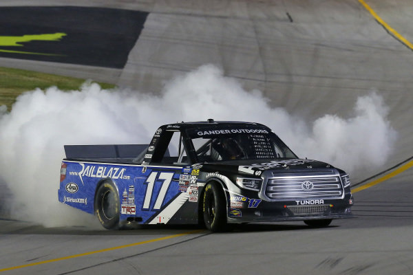 #17: Tyler Ankrum, DGR-Crosley, Toyota Tundra Academy Sports + Outdoors / RAILBLAZA celebrates his win with a burnout