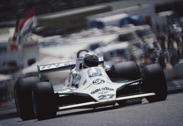 Alan Jones, Williams FW07 Ford, during practice.