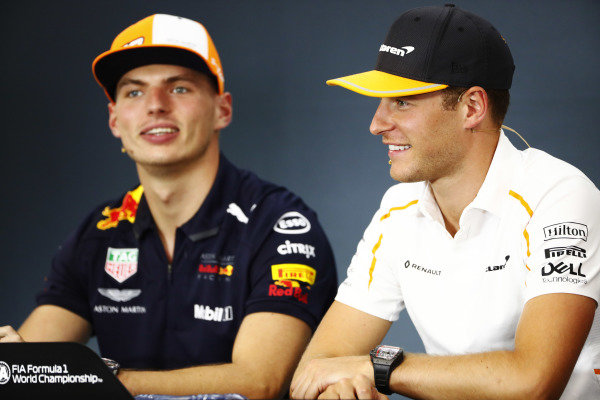 Stoffel Vandoorne, McLaren, and Max Verstappen, Red Bull Racing, in the Thursday press conference.