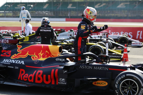 Max Verstappen, Red Bull Racing RB16, 1st position, celebrates on arrival in Parc Ferme