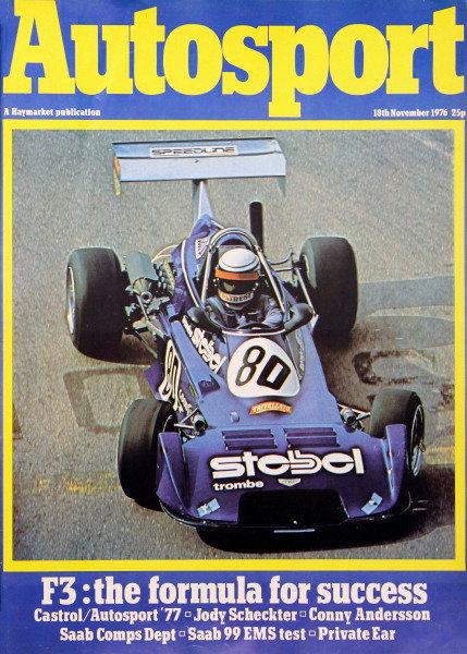 Cover of Autosport magazine, 18th November 1976