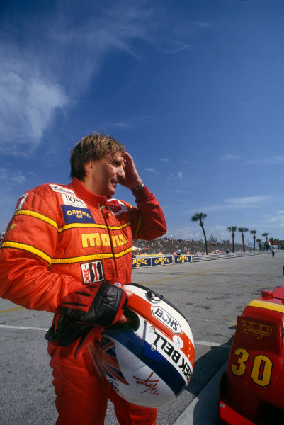 Miami, Florida, USA. 21st February 1993. Derek Bell (Nissan NPTI 90-03), 4th position, portrait. World Copyright: LAT Photographic. Ref:  93IMSA MIA01.