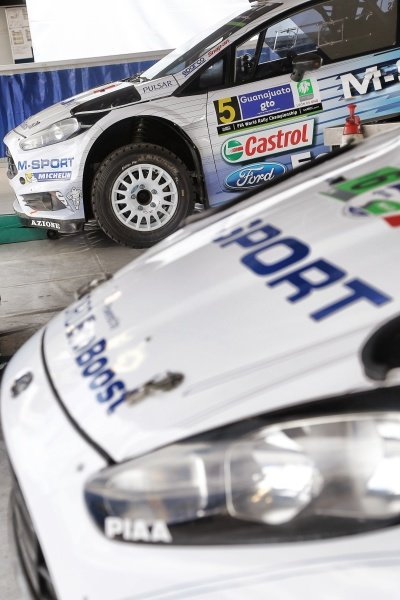 The car of Elfyn Evans (GBR) / Daniel Barritt (GBR) Ford Fiesta RS WRC in Srvice at World Rally Championship, Rd3, Rally Mexico, Preparations, Leon, Mexico, 5 March 2015.