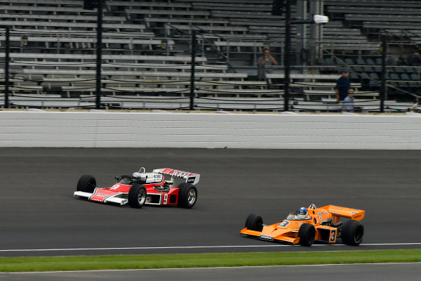 Verizon IndyCar Series Indianapolis 500 Practice Indianapolis Motor Speedway, Indianapolis, IN USA Saturday 27 May 2017 Johnny Rutherford, 3 McLaren M16, and Mario Andretti, 9 McLaren M24 World Copyright: Scott R LePage LAT Images