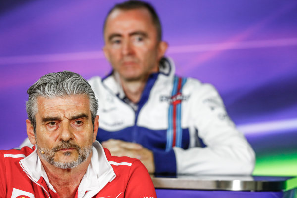 Albert Park, Melbourne, Australia. Friday 24 March 2017. Maurizio Arrivabene, Team Principal, Ferrari, and Paddy Lowe, Williams Martini Racing Formula 1, in the Team Principals Press Conference. World Copyright: Sam Bloxham/LAT Images ref: Digital Image _W6I2440