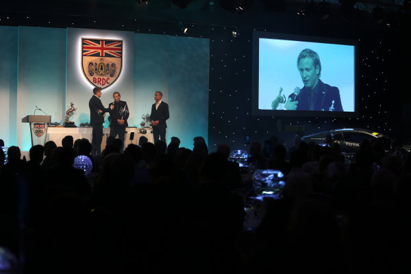 2017 British Racing Drivers Club Awards. London Hilton Hotel, Park Lane, London. Monday 4th December 2017. Jake Humphrey, Rick Parfitt Jnr and David Coulthard. World Copyright: Jakob Ebrey / LAT Images. Ref: Parfitt---02