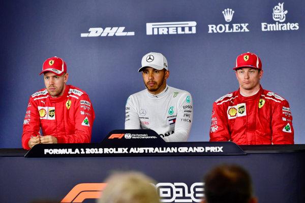 Press Conference (L to R): Sebastian Vettel (GER) Ferrari, Lewis Hamilton (GBR) Mercedes-AMG F1 and Kimi Raikkonen (FIN) Ferrari