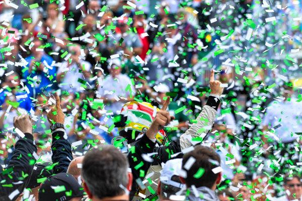 IMSA WeatherTech SportsCar Championship Rolex 24 Hours Daytona Beach, Florida, USA Sunday 28 January 2018 #5 Action Express Racing Cadillac DPi, P:  Filipe Albuquerque celebrates in Victory Lane. World Copyright: Richard Dole LAT Images  ref: Digital Image DSC_0047