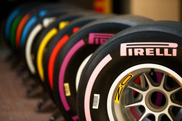 Yas Marina Circuit, Abu Dhabi, United Arab Emirates. Friday 24 November 2017. The new-for-2018 range of Pirelli F1 tyres. World Copyright: Andy Hone/LAT Images  ref: Digital Image _ONZ8164