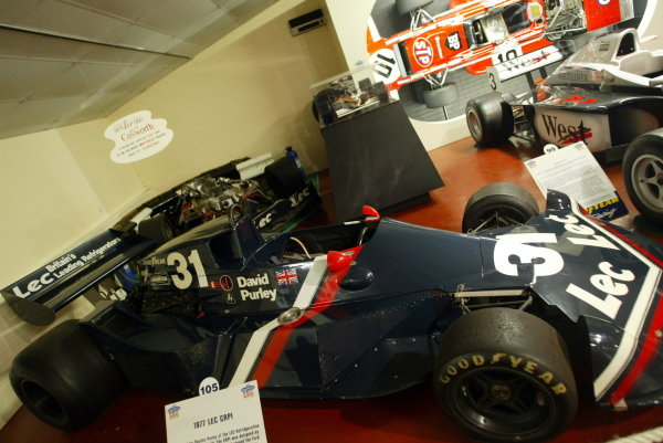 David Purley's (GBR) LEC. In the background is the car he crashed at Silverstone,  in the Grand Prix Collection which celebrates being open for 30 years . Donington Park, England, 22 October 2003