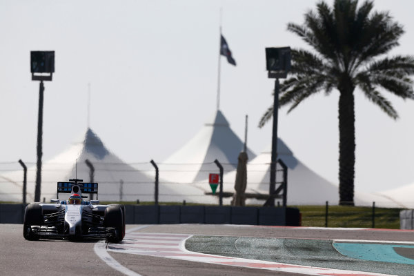 Yas Marina Circuit, Abu Dhabi, United Arab Emirates. Wednesday 26 November 2014. Felipe Nasr, Williams FW36 Mercedes.  World Copyright: Sam Bloxham/LAT Photographic. ref: Digital Image _SBL9035