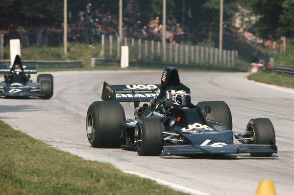 1973 Italian Grand Prix.  Monza, Italy. 7-9th September 1973.  George Follmer, Shadow DN1 Ford, 10th position, leads Jackie Oliver, Shadow DN1 Ford, 11th position.  Ref: 73ITA41. World copyright: LAT Photographic