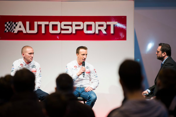 Autosport International Exhibition. National Exhibition Centre, Birmingham, UK. Friday 9 January 2015. Kris Meeke and Paul Nagle on the Autosport stage. World Copyright: Malcolm Griffiths/LAT Photographic. ref: Digital Image A50A0801