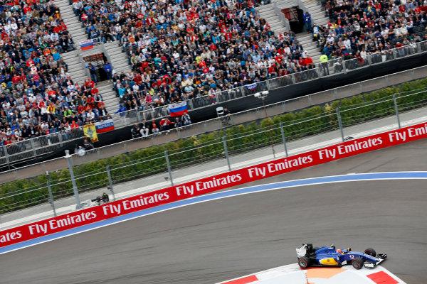 Sochi Autodrom, Sochi, Russia. Sunday 11 October 2015. Felipe Nasr, Sauber C34 Ferrari. World Copyright: Alastair Staley/LAT Photographic ref: Digital Image _R6T1695