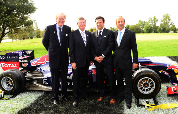(L to R): Ron Walker (AUS) Chairman of the Australian GP Corporation, Denis Napthine (AUS) Premier of Victoria, Patrick Boutellier, General Manager Rolex, and Andrew Westacott (AUS) Australian GP CEO. 2014 Formula 1 Rolex Australian Grand Prix Media Launch, Carousel, Albert Park, Melbourne, Australia, 3 February 2014.