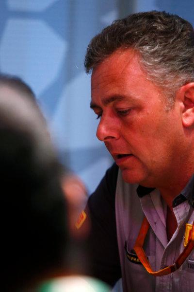 Yas Marina Circuit, Abu Dhabi, United Arab Emirates. Wednesday 29 November 2017. Mario Isola, Racing Manager, Pirelli Motorsport, talks to reporters. World Copyright: Joe Portlock/LAT Images  ref: Digital Image _L5R1253