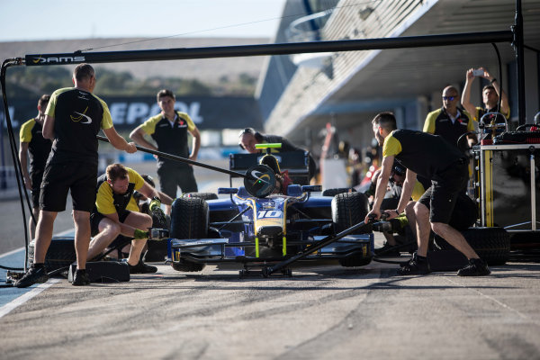 2017 FIA Formula 2 Round 10. Circuito de Jerez, Jerez, Spain. Thursday 5 October 2017. Pit stop practice with Nicholas Latifi (CAN, DAMS) car. Photo: Andrew Ferraro/FIA Formula 2. ref: Digital Image _FER8126
