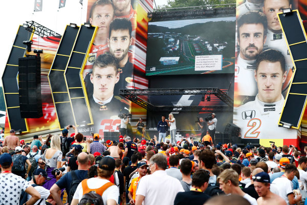 Spa Francorchamps, Belgium.  Saturday 26 August 2017. Pascal Wehrlein, Sauber, on stage in the F1 Fanzone. World Copyright: Sam Bloxham/LAT Images  ref: Digital Image _J6I9132